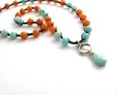 Amazonite necklace, Bohemian jewelry, crochet necklace, color block, Boho fashion, sky blue, nectarine orange