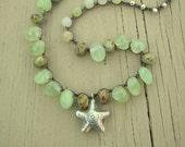 Beaded crochet necklace - Sea Spray - Coastal Bohemian jewelry, beach, Thai silver starfish, yellow green