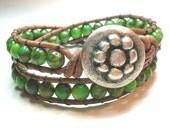 Green leather wrap bracelet - Irish Fields - Bohemian jewelry, beaded, rustic, cowgirl country chic, boho