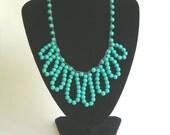 Turquoise crochet necklace - Ruffles - Bohemian statement jewelry, fringe necklace, whimsical, boho chic, glam, southwestern