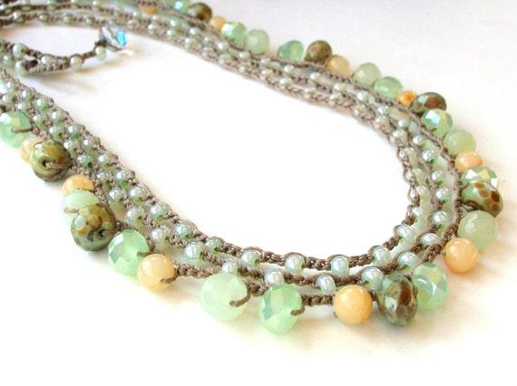 Seafoam crochet necklaces, SET of 2, Bohemian  jewelry on SALE, coastal summer, wrap bracelet, beach, boho