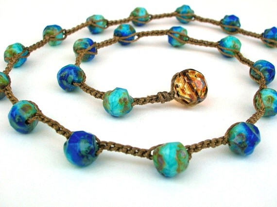 Beachy crochet necklace, waterproof Bohemian jewelry, waterproof, turquoise, sky blue, aqua surfer, tortoise shell, beachy boho surfer chic