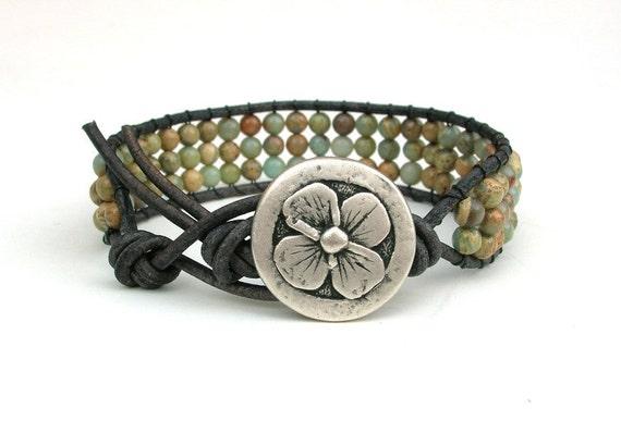Beaded leather cuff, leather wrap bracelet - Rustic Clover - jasper gemstones, silver flower, boho, bohemian jewelry, southwest cowgirl