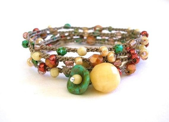 Boho bead crochet bracelet, wrap bracelet - Fall Garland - Bohemian jewelry, flower, berry pink, turquoise green, caramel, earthy metallic