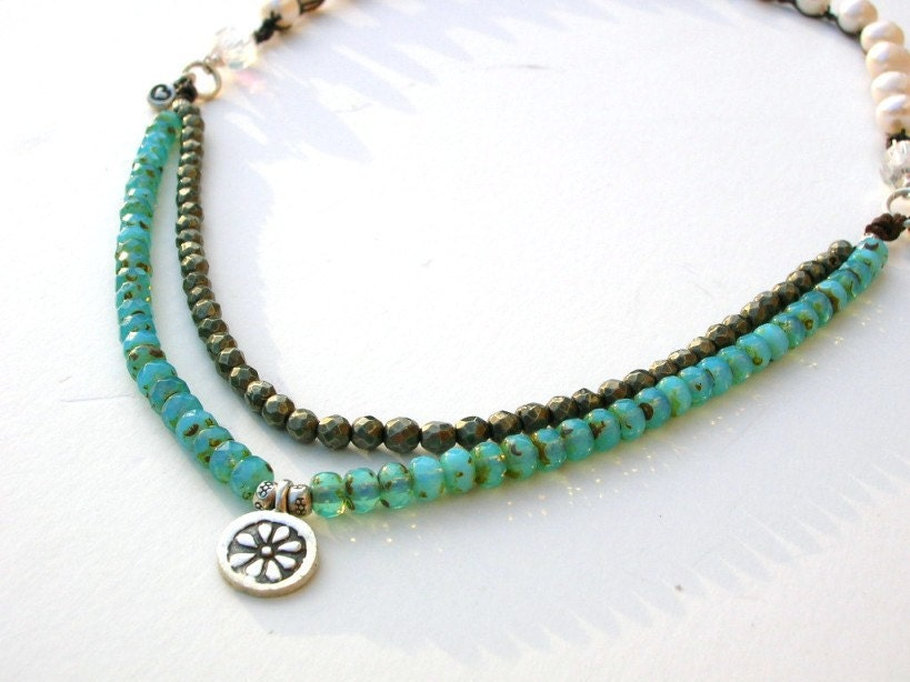 bohemian necklace southwestern boho crocheted jewelry aqua
