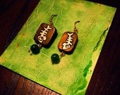 Spinelli Art Fish Bite Emerald & Wood Earrings