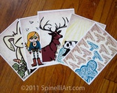 "Spinelli Art Character Cards, set of 5, 5""x7"" prints Deer, Rabbit, Panda, Airplane, Toy Gun"