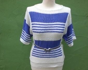 Vintage 80s / New Wave / Purple and White / Short Sleeve / Sweater / Medium