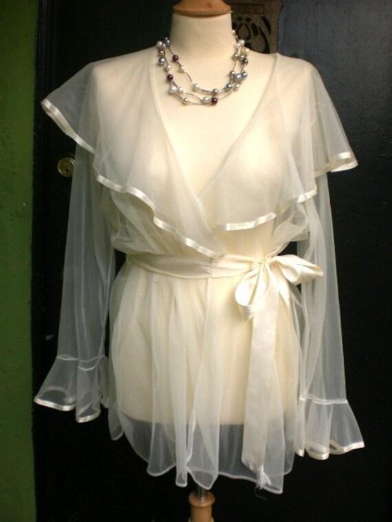 Vintage White Chiffon and Ribbon Wrap Cinema Bell Sleeved Sheer Boudoir Robe