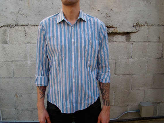 Vintage Men's / Red / White / Blue / Striped / MEMBER'S ONLY / Button Down / Shirt /  Large