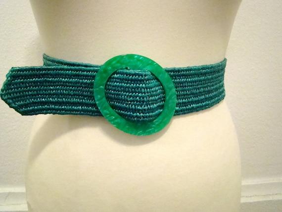 Vintage 80s / Teal Green / Stretch / Belt / M/L