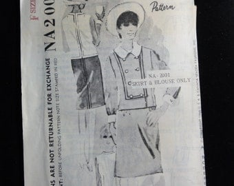 1966 Straight Skirt & Sleeveless Overblouse Top- VTG Spadea Designer Sewing Pattern na-2001 Patrick de Barentzen- Size 10 Bust 34- Unused