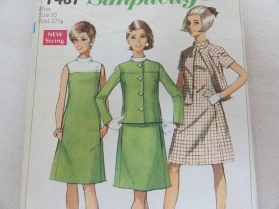 1967 Mod Dress, Suit Dress & Jacket, A-line Dress, Sleeveless- Vintage 60s Simplicity Sewing Pattern 7437- Misses Size 10 Bust 32.5