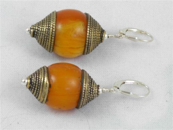 822ES Antique Brass Amber Earrings