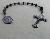 Boy's First Communion Catholic Pocket Rosary in Black Agate and Antique Bronze
