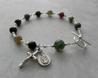 Catholic Rosary Bracelet featuring Our Lady of Guadalupe in Fancy Jasper Gemstone