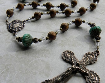 Catholic Rosary - Edwardian Style Rosary in Brown Gemstone and Turquoise
