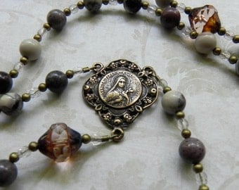 Catholic Rosary - St. Therese of Lisieux in Gemstone and Bronze