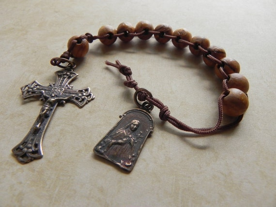 St. Therese Sacrifice Beads in Olive Wood and Antique Bronze
