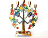 Brass and Enamel Flower Power Candle Holder by the Terra Sancta Society