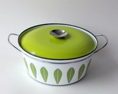Large Cathrineholm Lotus Casserole or Dutch Oven in White and Green