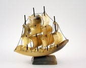 Vintage Sailing Ship Model Made of Cow Horn