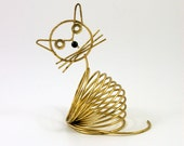 Brass Cat Letter Holder or Organizer Designed by Richard Galef for Ravenware