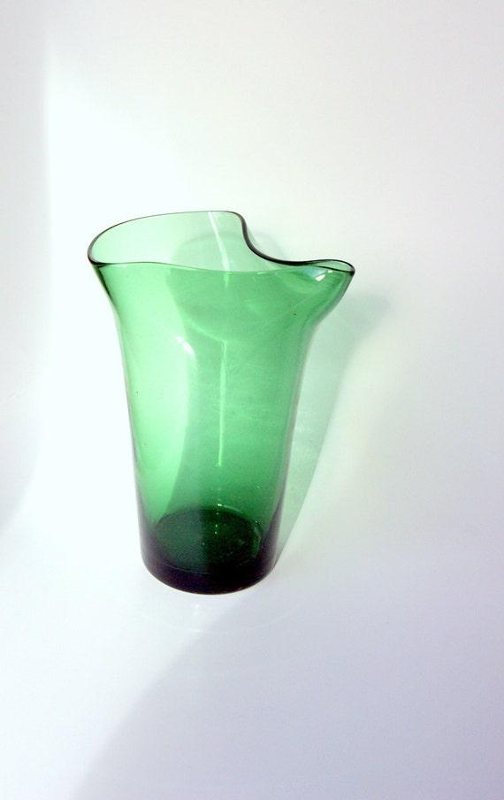 Scandinavian Green Glass Carafe or Pitcher