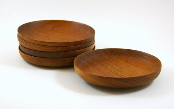 Five Elegant Teak Salad Bowls - Made in Denmark by Skagen