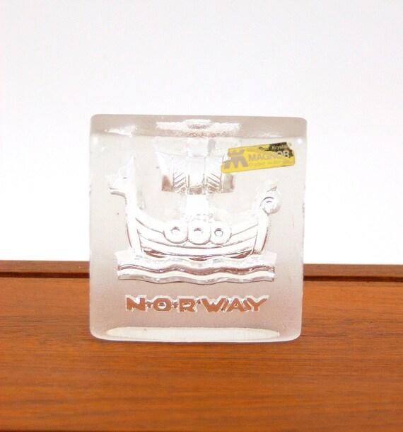 Reserved for Karen: Glass Viking Paperweight -- Made by Magnor Glassverk of Norway