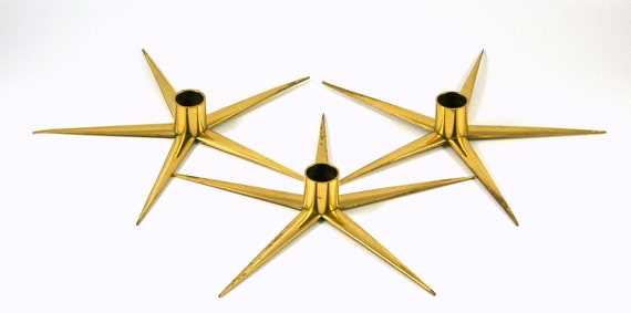 Reserved for Heidi: Three Brass Star Candle Holders -- Made in Sweden by IBE KONST