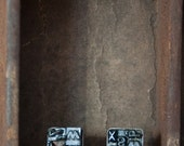 Letterpress Type Post Earring in Sterling Silver