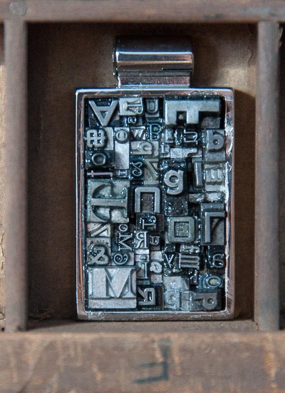 Large Rectange Letterpress Type Pendant