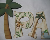 Bby Nursery Wall Letters, Custom Nursery Wall Letters, Hand Painted Children Wall Letters, Jungle Wooden Wall Decor, Hanging Wall Letters