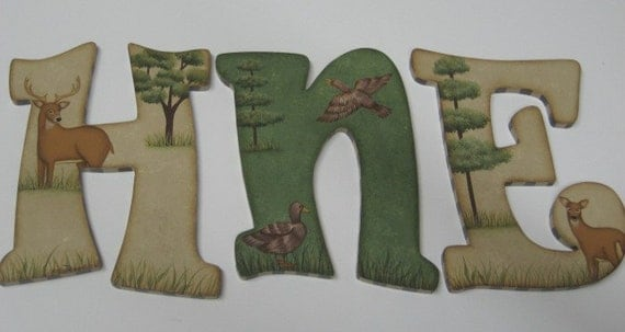 Camo Baby Nursery Handpainted Wall letters  Hunting Outdoor Theme with Buck, Doe and Ducks