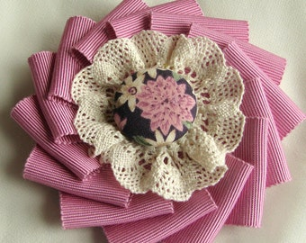 Brooch - Pink Ribbon Cocarde with Ecru Lace and Fabric Covered Button - Grosgrain Ribbon