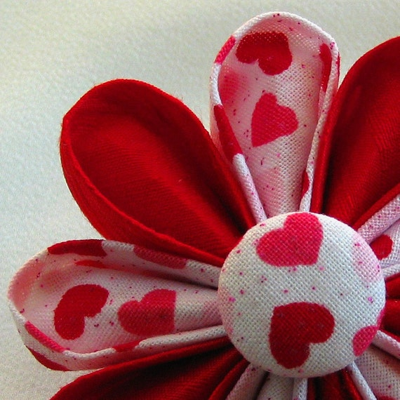 Flower Pin Bright Red Silk with Hearts Print Button