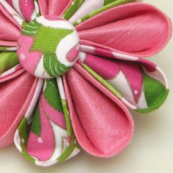 Flower Pin Pink Silk with Botanical Print Sophisticated Kanzashi