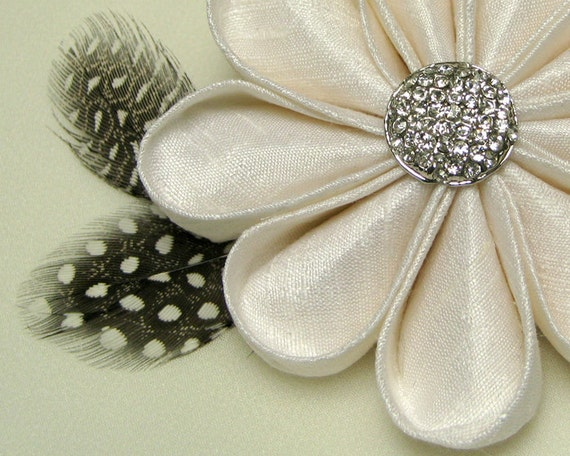 Silk Flower Pin White Kanzashi with Rhinestone Button and Feathers