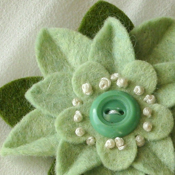 Pistachio Felt Flower Pin with Vintage Green Button and French Knots - St. Patrick's Day