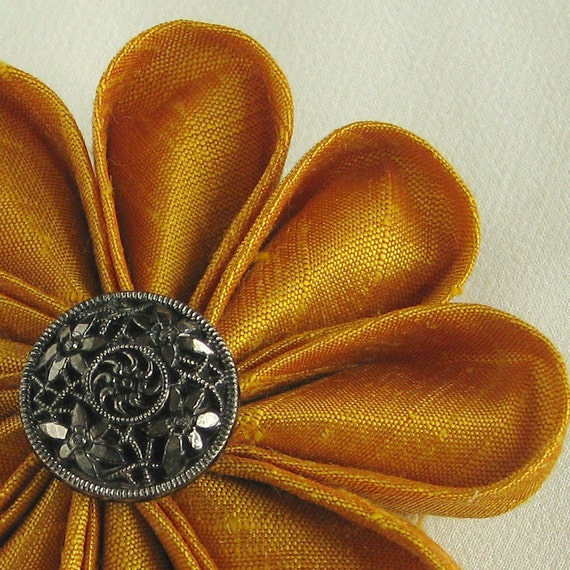 Flower Pin Gold Silk Kanzashi with Vintage Black Glass Button with Silver Lustre