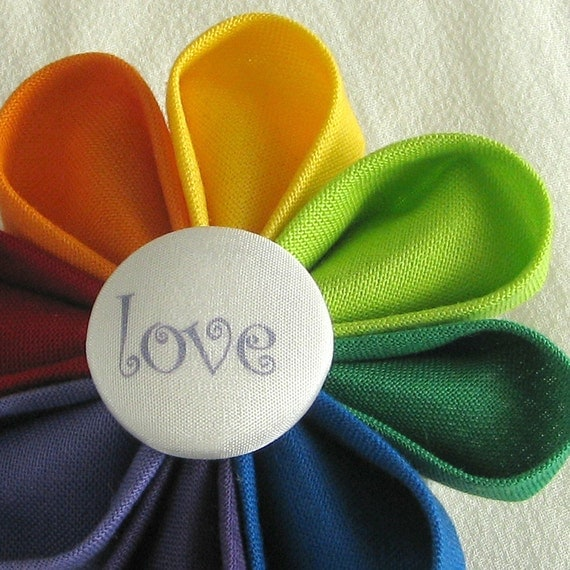 Rainbow Flower Pin with Love Fabric Button - Kanzashi Pride Boutonniere