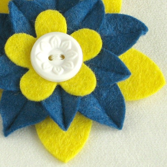 Yellow, White and Blue Felt Flower Pin with White Vintage Button - Gift for 20