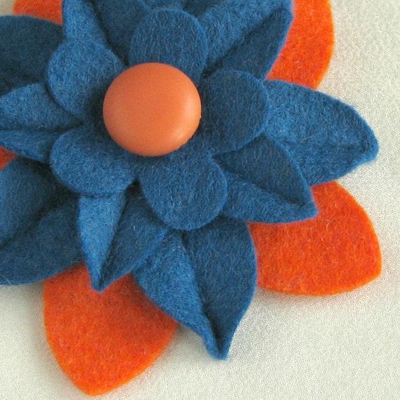 Denver Broncos Colors - Felt Flower Pin Blue and Orange with Orange Vintage Button