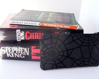Black Spiderweb Print Medium Zippered Pouch