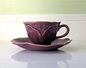 Vintage Metlox Lotus Ware Cup and Saucer, Deep Plum