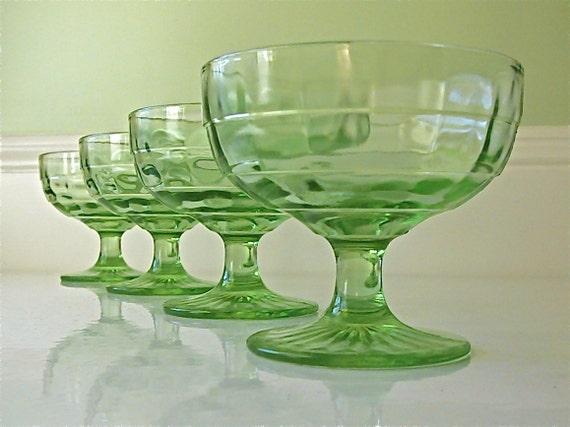 Vintage Green Depression Glass Footed Desserts