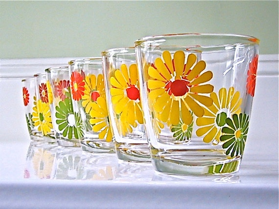 Vintage Flower Power Sour Cream glasses