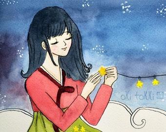 Korean Hanbok Girl Art Print 5x7, Korean gift for her, Korean nursery decor, Korean adoption gift, Asian mythology art, Rabbit on the moon