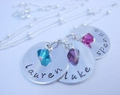 Handstamped Personalized Engraved Sterling Silver THREE NAME Necklace